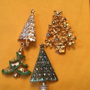 Lot of 4 Christmas tree Pins, Avon, Danecraft